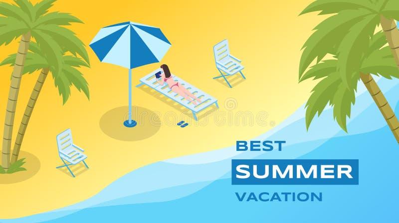 Sommerferien-Erholungsvektor-Fahnenschablone Seebad, Ferienjahreszeit-Werbungsplakatkonzept Junge Frau 15 stock abbildung