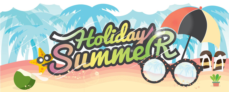Sommerferien-Fahnen-Sommer-Ferien-Konzept stock abbildung