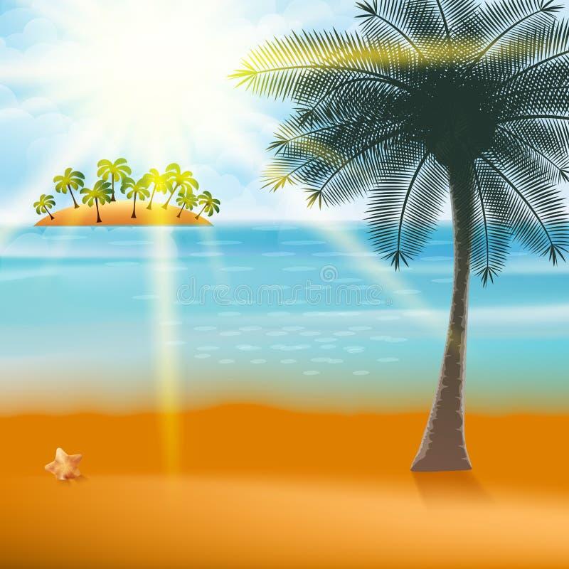 Sommerferien-Flieger-Design mit Palmen. lizenzfreie abbildung