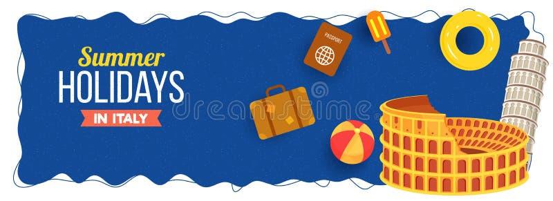 Sommerferien in Italien, im Netztitel oder im Fahnendesign mit colos lizenzfreie abbildung