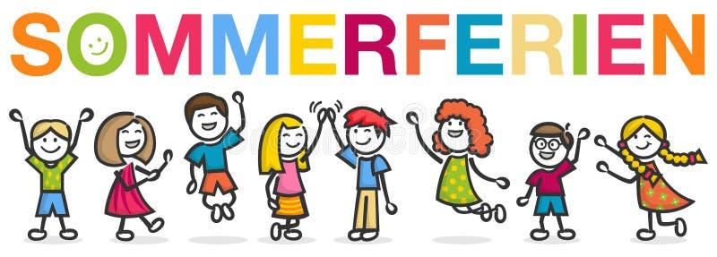 Sommerferien-Kinderstudenten-Sommerferiendeutscher lokalisierte Vektor lizenzfreie abbildung