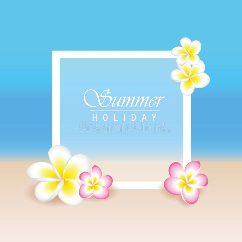 Sommerferien mit exotischem Plumeria Blumen des Frangipani und Strandhintergrund stock abbildung