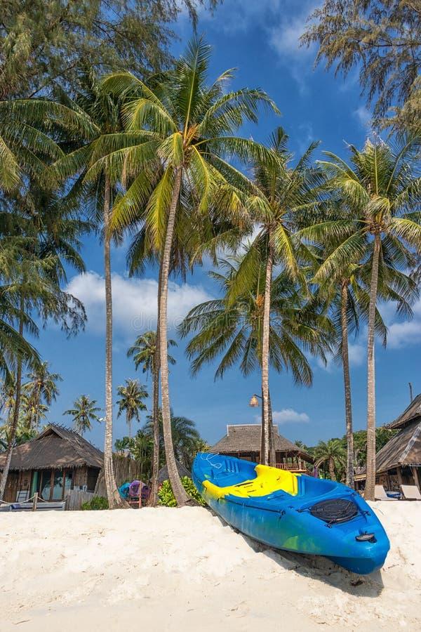 Sommerferien mit Tätigkeit auf tropischem Strandkonzept buntes Kajakboot auf weißem Sandstrand mit KokosnussPalme lizenzfreies stockfoto