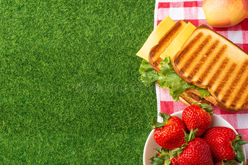 Sommerferien, Picknick im Park auf dem Gras E stockfoto