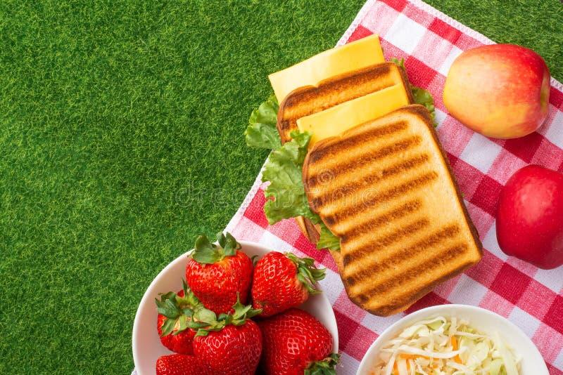 Sommerferien, Picknick im Park auf dem Gras E stockbild