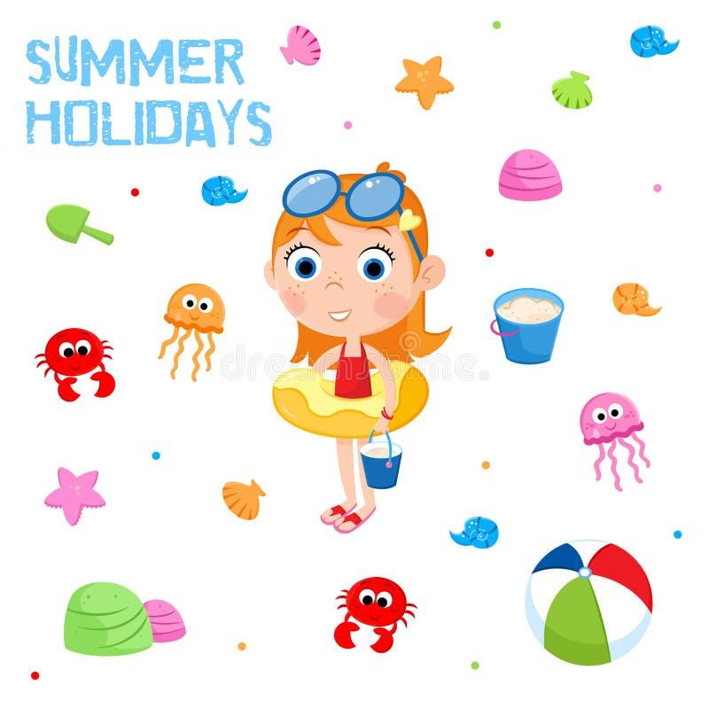 Sommerferien - Strandfestelemente - entzückender Aufkleber lizenzfreie abbildung