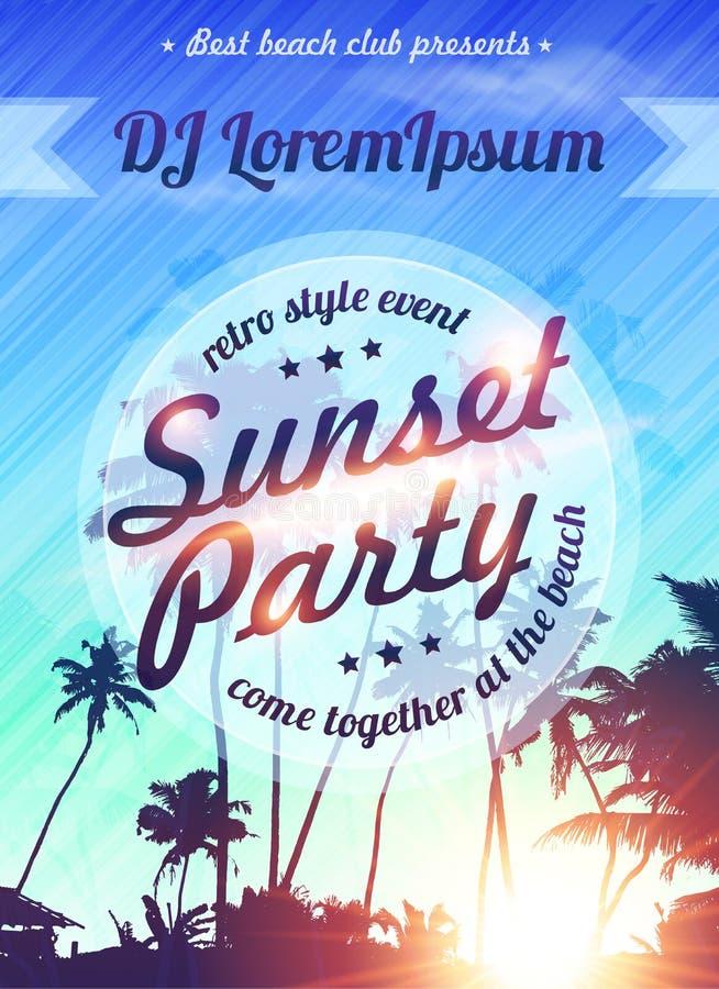 Sommerferien-Strandsonnenuntergangpartei-Plakatschablone lizenzfreie abbildung