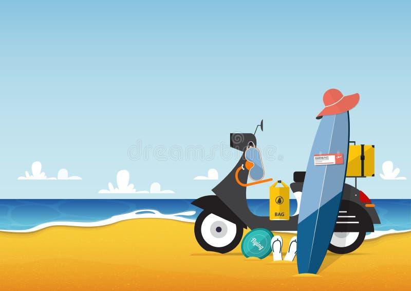 Sommerferien und Meerblick mit Roller- und Reiseikonensatz im flachen Design Vektor vektor abbildung