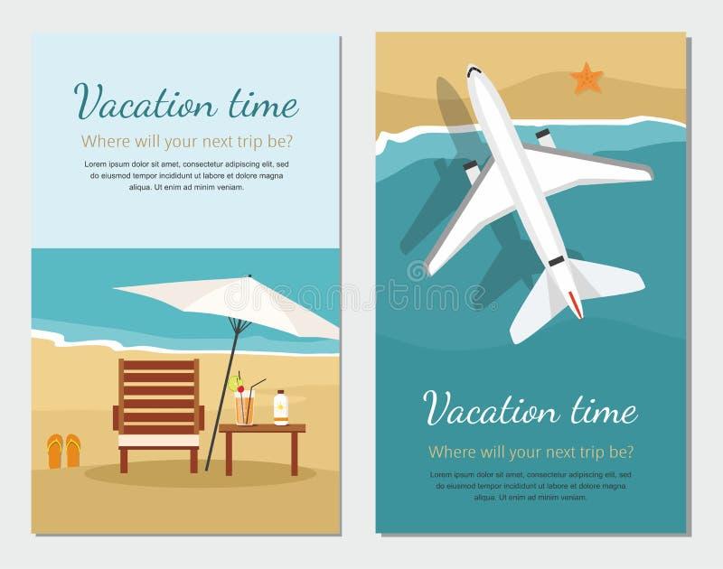 Sommerferien und -tourismus Wagenaufenthaltsraum und -regenschirm auf dem Strand Flugzeug fliegt über ein Meer lizenzfreie abbildung