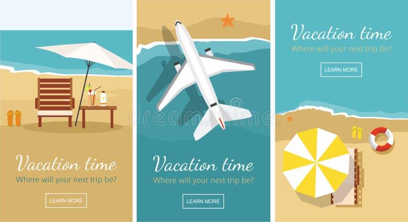 Sommerferien und -tourismus Wagenaufenthaltsraum und -regenschirm auf dem Strand Flugzeug fliegt über ein Meer Fahnenschablone stock abbildung