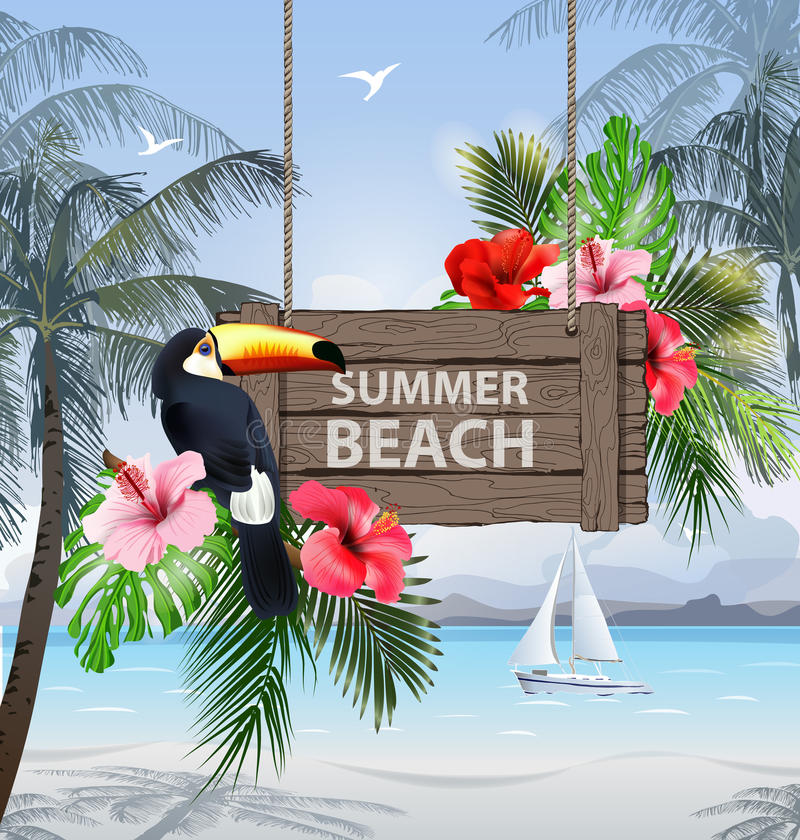 Sommerferien-Vektor-Illustration Setzen Sie, schönes Segelboot, Palmen, schöne panoramische Seeansicht, Vektor auf den Strand lizenzfreie abbildung