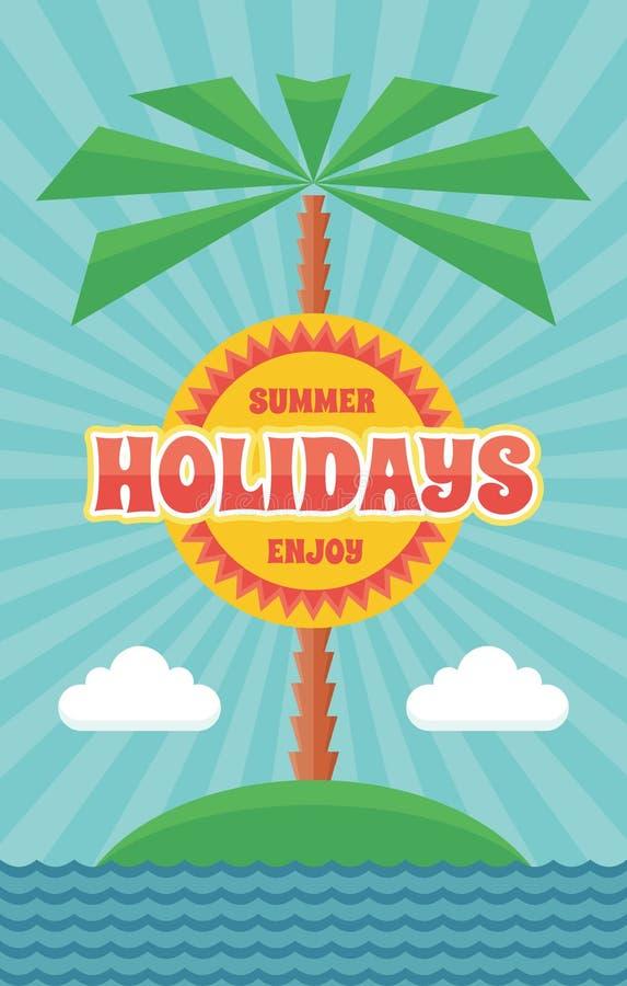 Sommerferien - Weinlese-Retro- Vektor-Plakat in der flachen Designart vektor abbildung