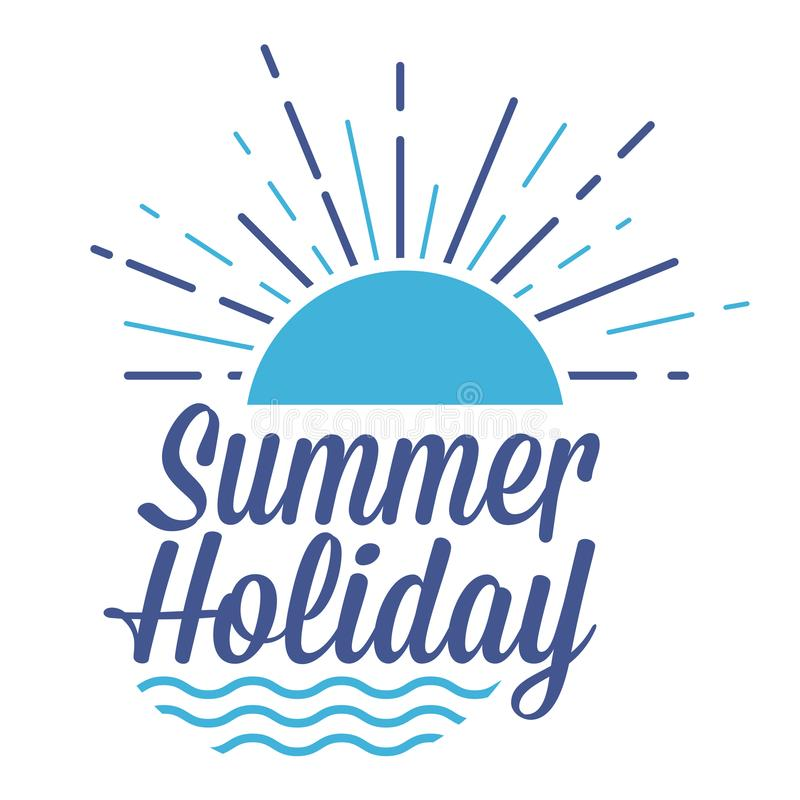 Sommerferien-Zeichen mit Sonnenuntergang und Wellen lizenzfreie abbildung