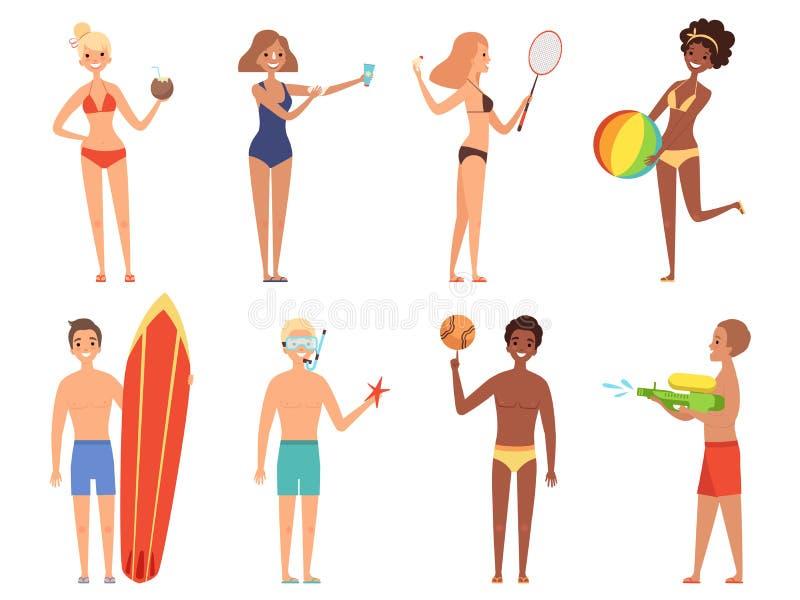 Sommerferiencharaktere Frau im Bikini haben einen Rest auf den Strandmädchen im Badeanzug, der Vektorkarikaturleute spielt lizenzfreie abbildung