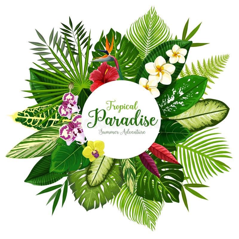 Sommerferienfahne der tropischen Palme und der Blume stock abbildung