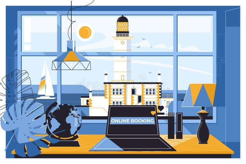 Sommerferienferien on-line-Konzept buchend Modernes flaches Konzept des Entwurfes für Webseitenentwurf für Website und Mobile lizenzfreie abbildung