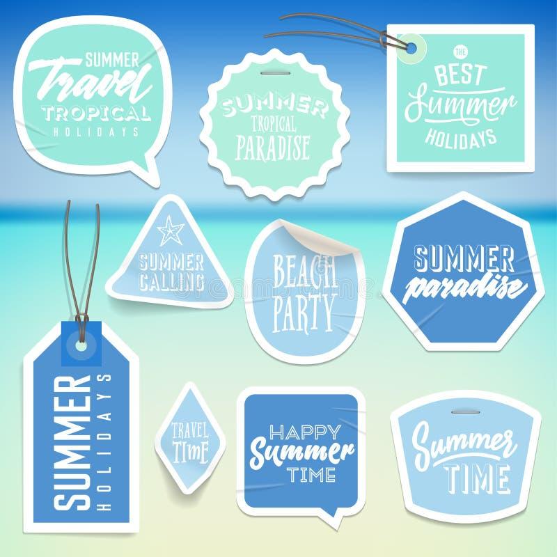Sommerferienferienaufkleber und -aufkleber stock abbildung