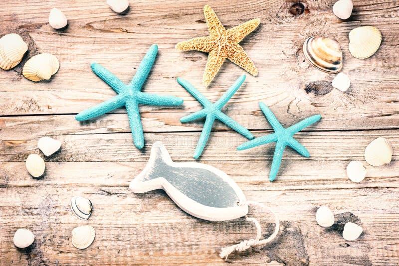 Sommerferienhintergrund mit Muscheln und dekorativen Fischen stockfotos