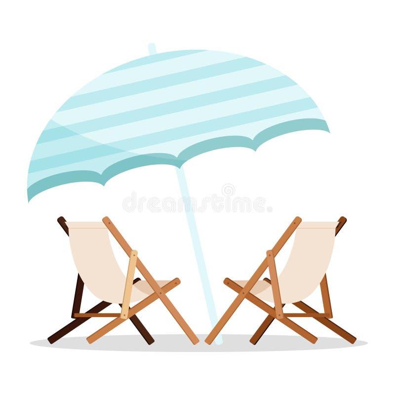 Sommerferienikone: zwei hölzerne Strandliegen mit der blauen Strandschirmikone lokalisiert auf weißem Hintergrund vektor abbildung