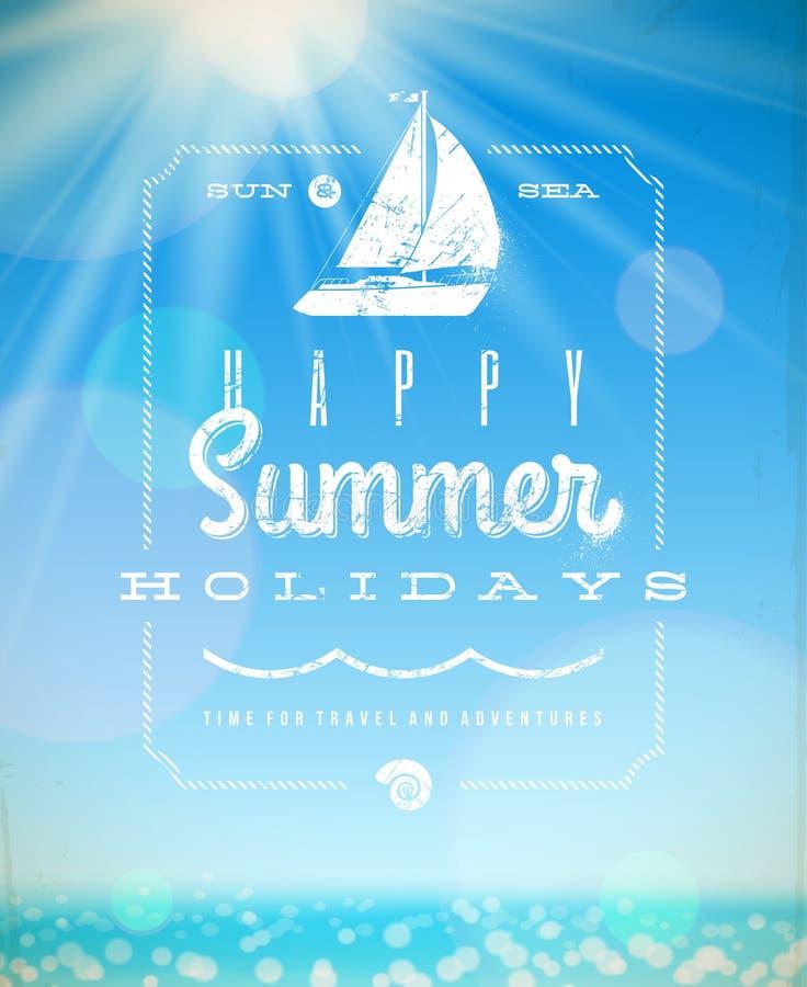Sommerferien-Beschriftungsemblem mit Yacht stock abbildung