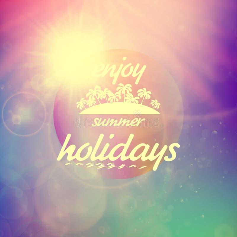 Sommerferiensonnenuntergang mit defocused Lichtern stock abbildung