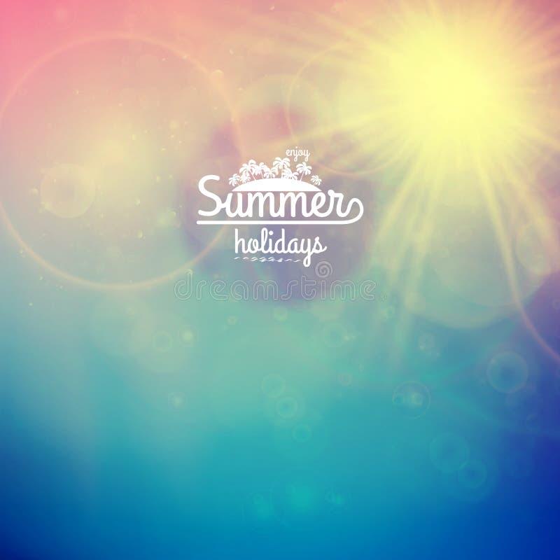 Sommerferiensonnenuntergang mit defocused Lichtern lizenzfreie abbildung
