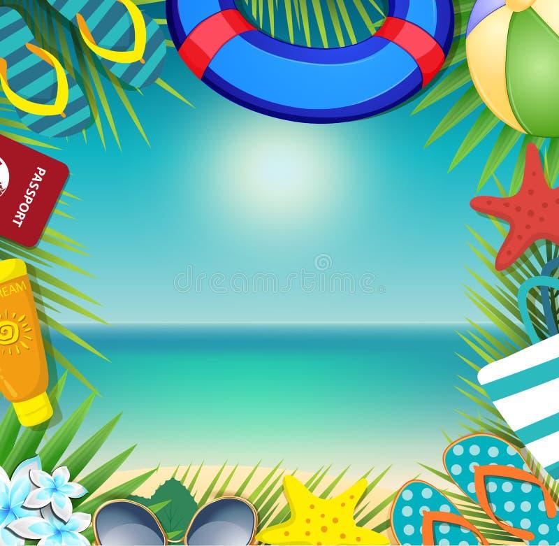 Sommerferienstrandzubehör und -palmblätter auf Küstenhintergrund vektor abbildung