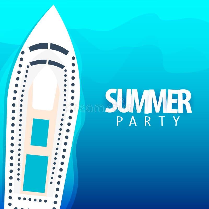 Sommerfest auf Kreuzfahrtschiffplakatschablone Nahaufnahme des roten Seils Auch im corel abgehobenen Betrag stock abbildung