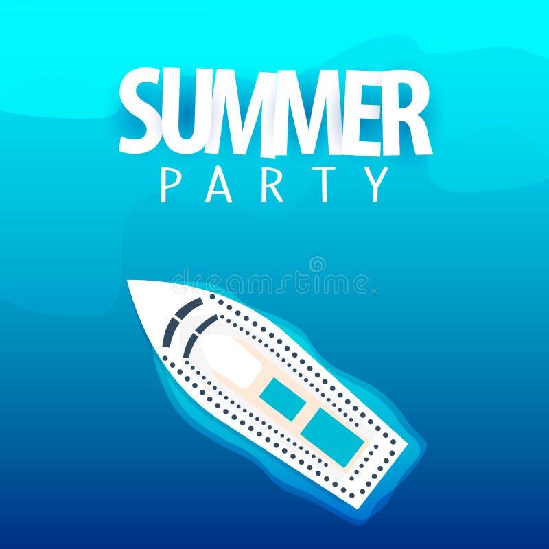 Sommerfest auf Kreuzfahrtschiffplakatschablone Nahaufnahme des roten Seils Auch im corel abgehobenen Betrag vektor abbildung