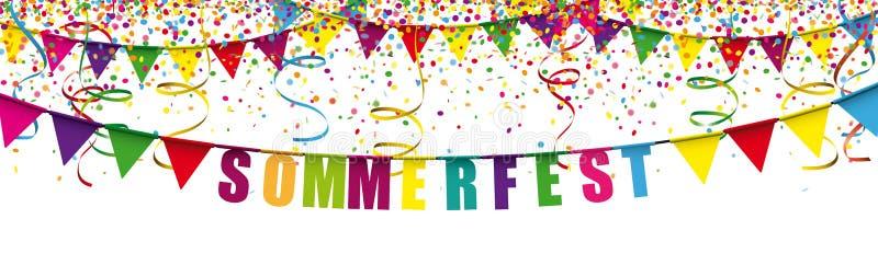 Sommerfest Confetti Festoon Long Header ilustração royalty free