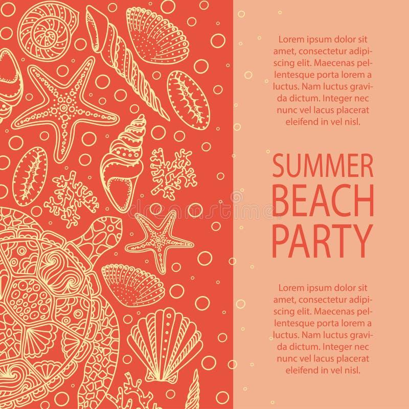Sommerfest-Einladung Muscheln, Seesterne, Korallen und Blasen stock abbildung