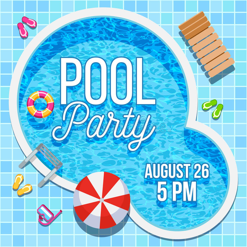 Sommerfesteinladung mit Swimmingpool-Vektorschablone vektor abbildung