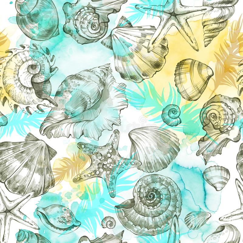 Sommerfestfeiertagshintergrund, Aquarellillustration Nahtloses Muster mit Seeoberteilen, -mollusken und -palmblättern lizenzfreie abbildung