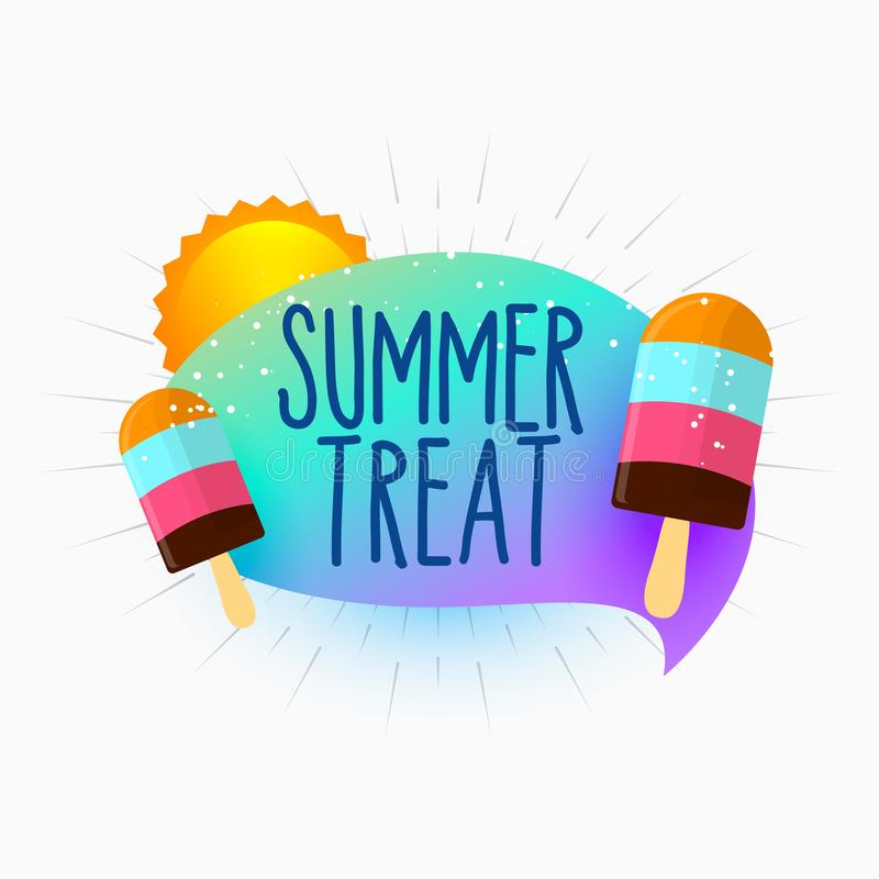 Sommerfestlichkeitseiscreme und Sonnenhintergrund lizenzfreie abbildung