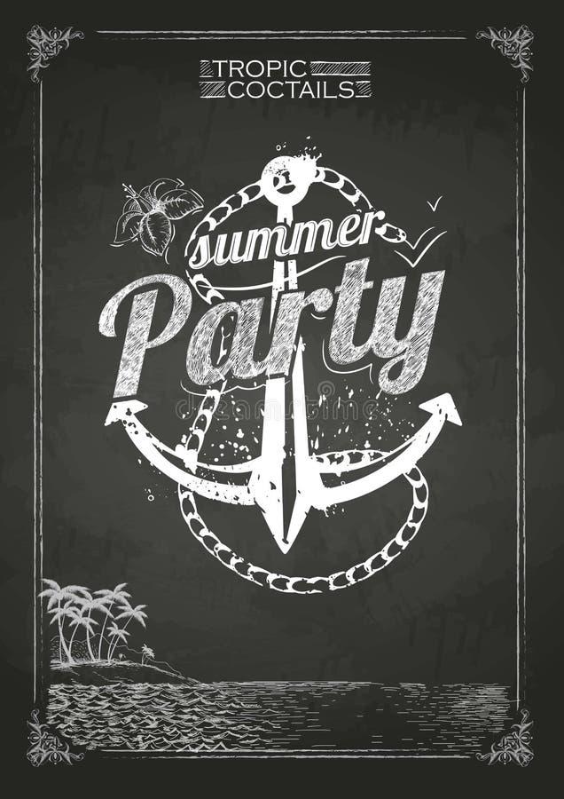 Sommerfestplakat Kreidezeichnungen vektor abbildung