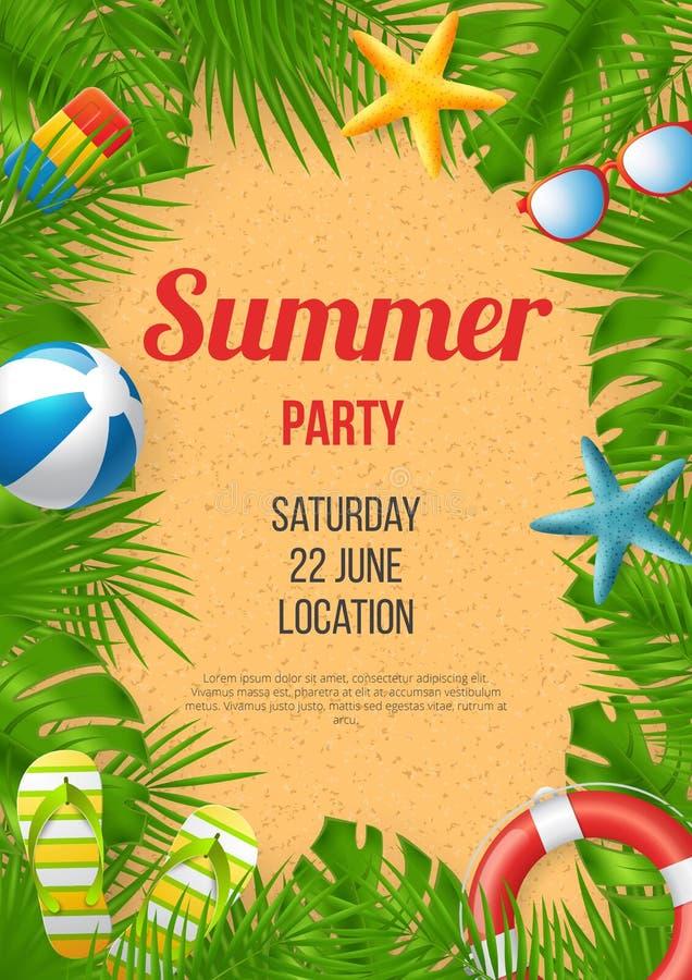 Sommerfestplakat-Vektorentwurf mit bunten Strandelementen vektor abbildung