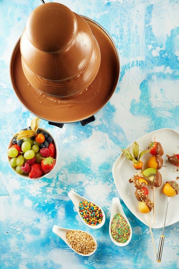 Sommerfrüchte und ein Schokoladenfondue stockbild