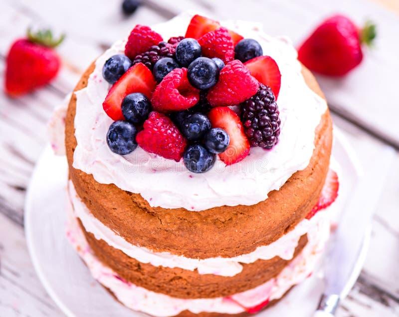 Sommerfruchtkuchen mit Beeren und Creme lizenzfreies stockfoto