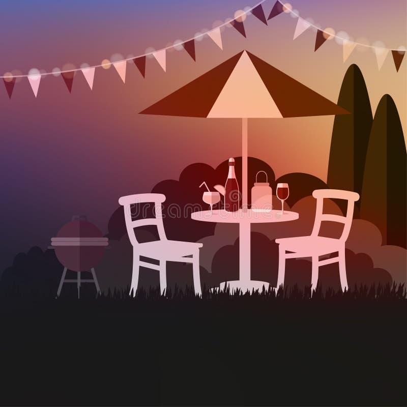 Sommergartenfest Grill des Sommers im Freien Sonnenuntergang in Ostsee Ferien, Illustration lizenzfreie abbildung
