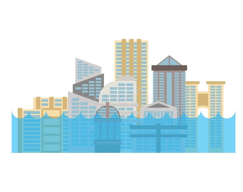 Sommergendosi nella città Inondazione in città La Camera si è sommersa Costruzione nel wate royalty illustrazione gratis
