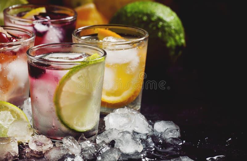 Sommergetränke, Limonadensatz mit Kalk, Orange und Moosbeere, selektiver Fokus lizenzfreie stockbilder