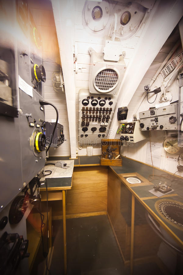 Sommergibile tedesco - scompartimento radiofonico fotografia stock