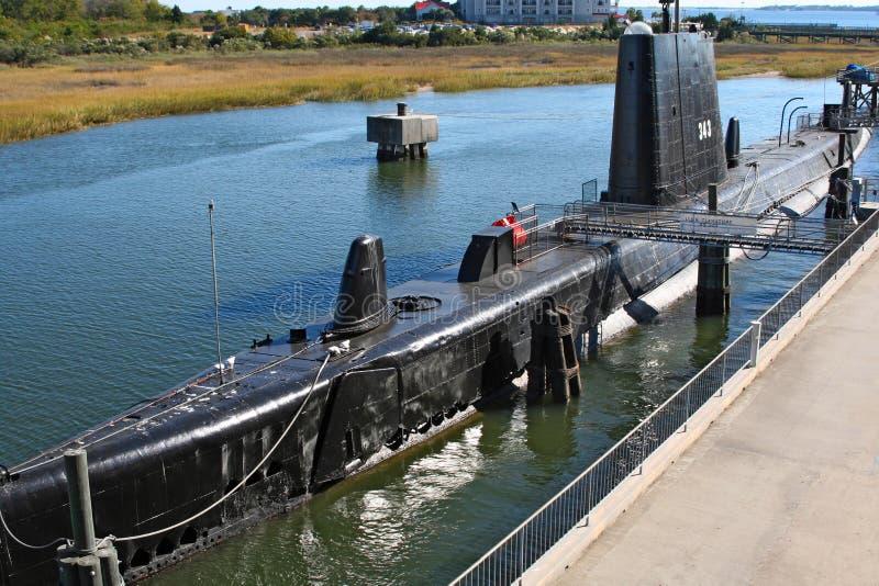 Sommergibile USS Clamagore, Charleston, S.U.A. fotografia stock libera da diritti