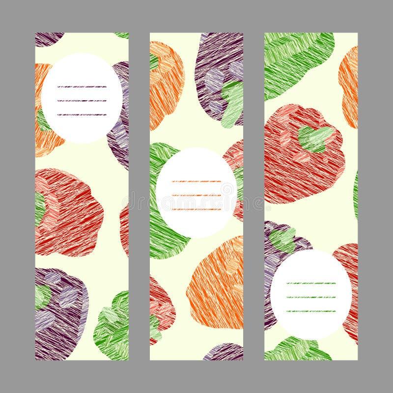 Sommergrüner Pfeffer Fahnen-Reihe des strengen Vegetariers ernte stock abbildung