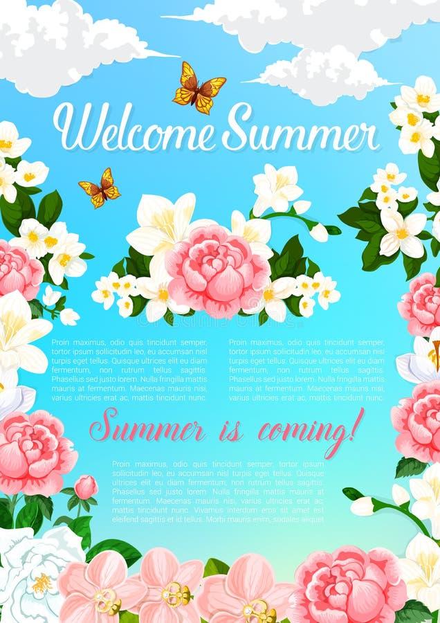 Sommergruß-Vektorplakat von blühenden Blumen stock abbildung