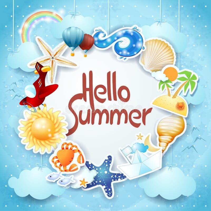 Sommerhintergrund mit bunten Ikonen und Mitteilung vektor abbildung