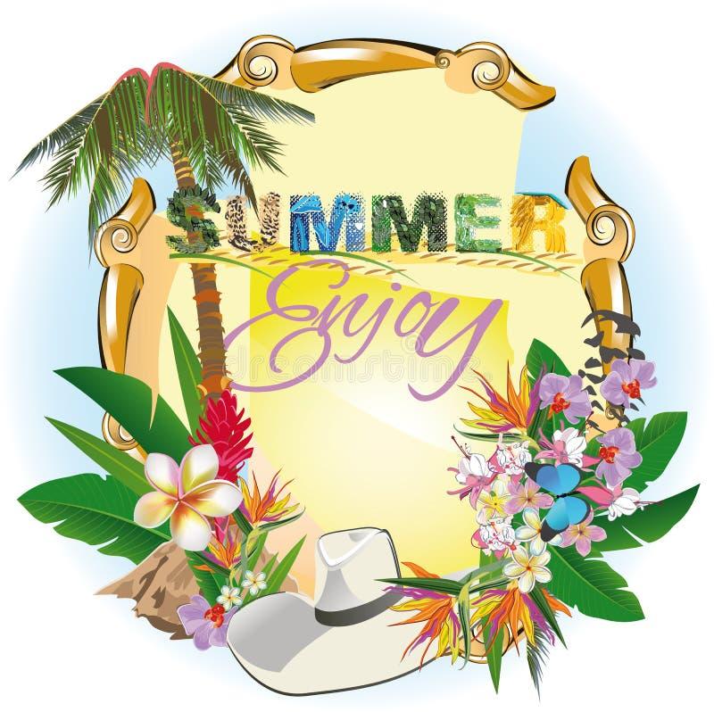 Sommerhintergrund mit einer Palme und Blumen vektor abbildung