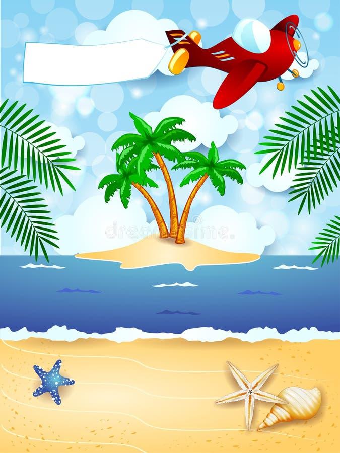 Sommerhintergrund mit Flugzeug und leerer Fahne lizenzfreie abbildung