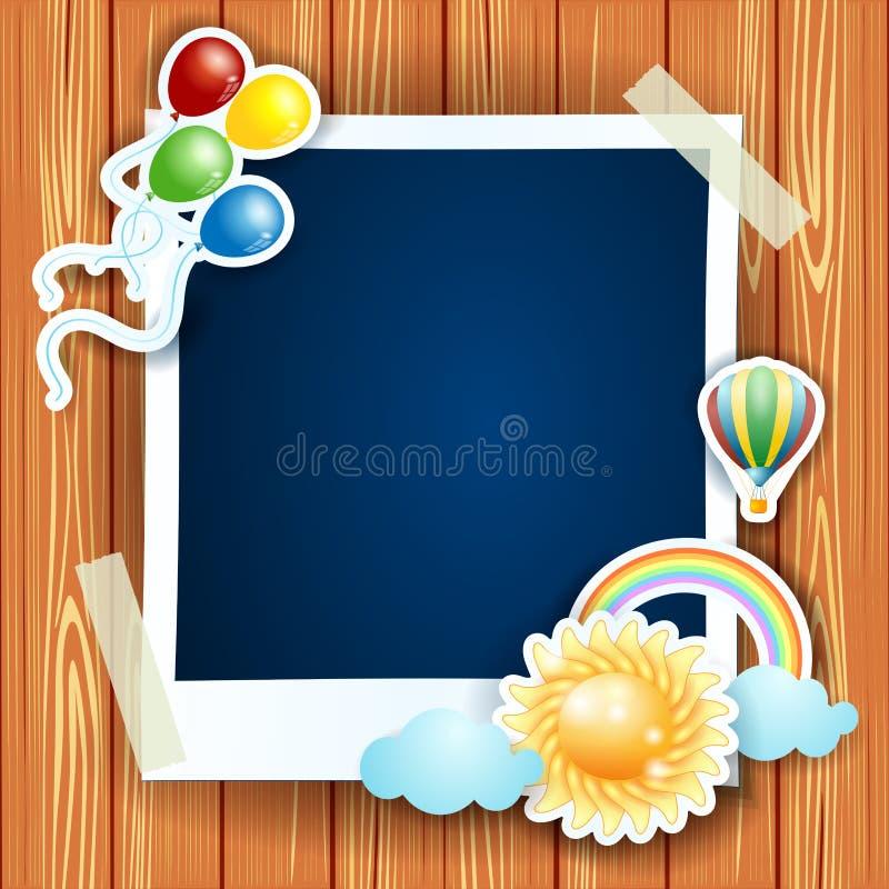 Sommerhintergrund mit Fotorahmen lizenzfreie abbildung