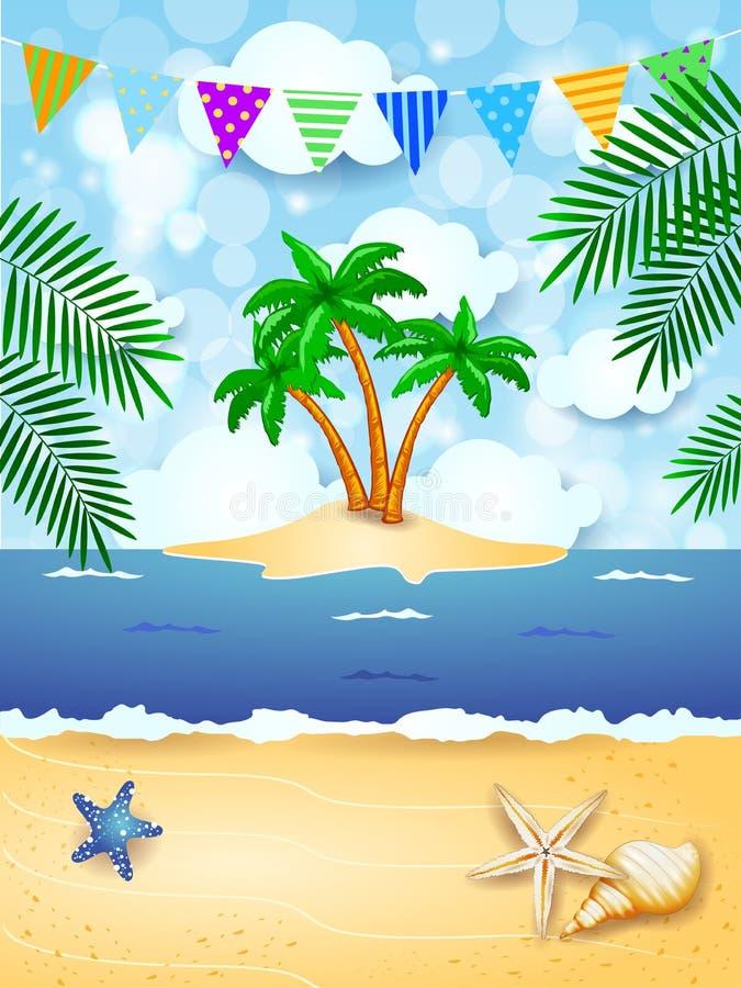 Sommerhintergrund mit Girlande und Tropeninsel lizenzfreie abbildung
